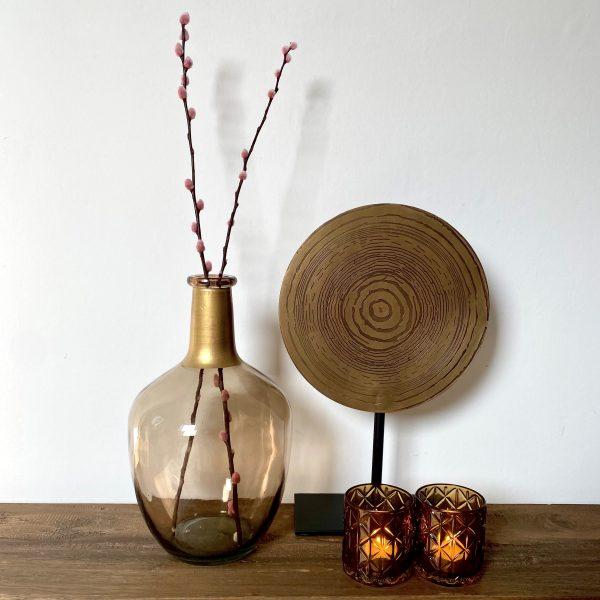sfeer foto, vaasje waxinelichthouder ornament (bruintint)